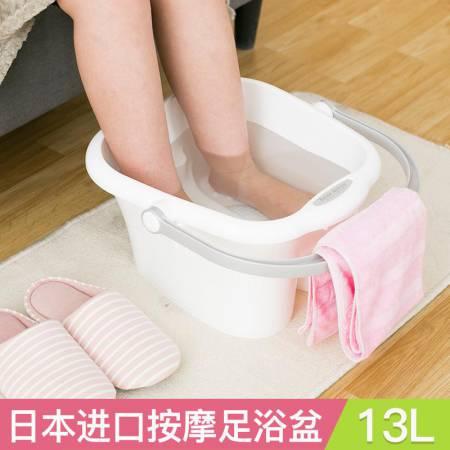 日本inomata 进口新款泡脚桶塑料足浴桶足疗·白色E005