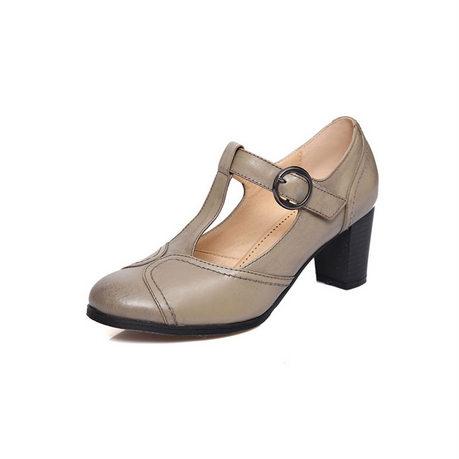 贝奴诗春季新款真皮一字扣浅口女鞋粗跟高跟鞋复古单鞋英伦皮鞋女灰色