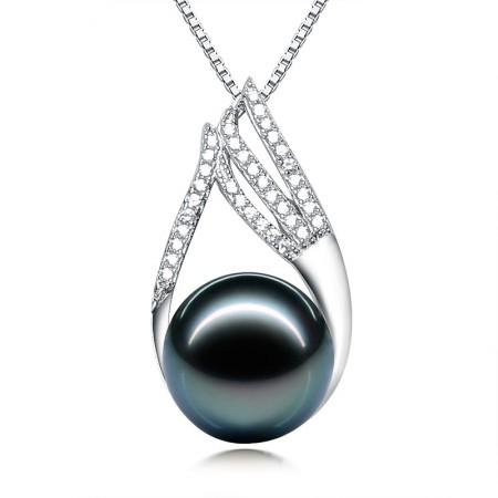 水年华S925银倾世王妃正圆黑珍珠吊坠·黑色