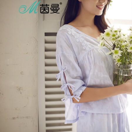 茵曼内衣 舒适纯棉V领宽松刺绣薄款家居服套装9871482002·丁香紫