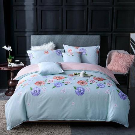 莱薇花之盛宴-蓝美式全棉印花六件套