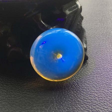 满记蓝珀平安扣挂件5A级净水高蓝(孤品)
