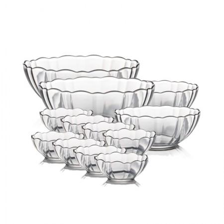 法国乐美雅 透明钢化玻璃果蔬沙拉碗12件套 微波适用