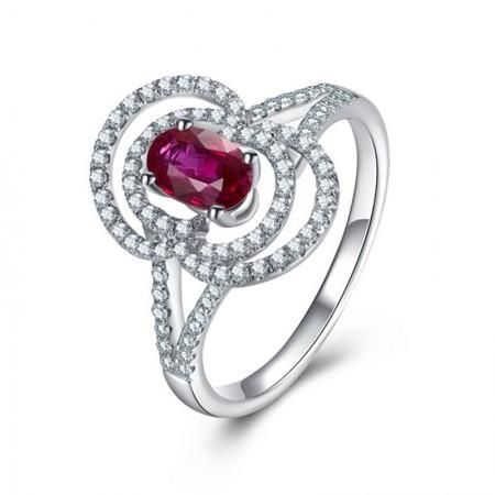 CDJ闪耀星光白18k金红宝石戒指  12#