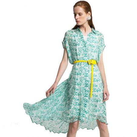 今升 衬衫领短袖单排扣真丝连衣裙·白底绿叶