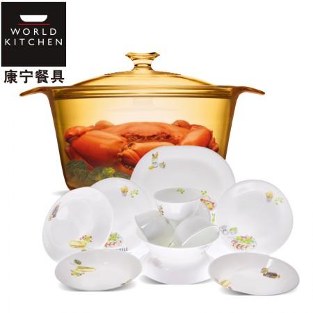 美国康宁 晶彩透明锅5.5L VS5.5+餐具12件组快乐厨房系列·标配