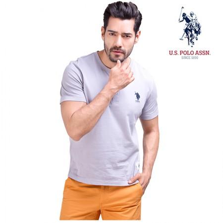 u.s.polo assn.美国马球协会)男士全棉圆领T恤 灰色  共同