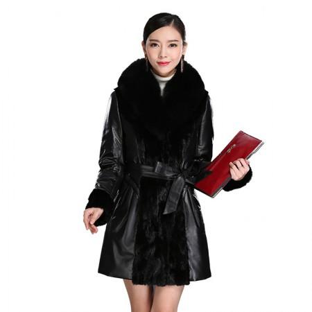 艾菲爱得 进口绵羊皮狐狸毛领外套·黑色