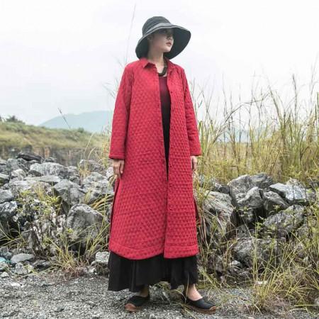 絮笈 翻领复古单排扣菱形夹棉大衣外套·红色