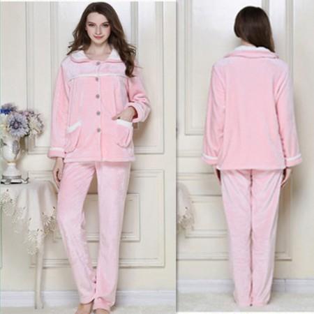 秋冬保暖时尚法兰绒家居服套装情侣款·粉色