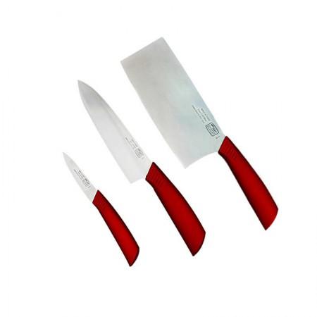 美国康宁 波尔多红刀套装中式片刀熟食刀水果刀三件组