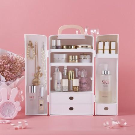 吉优百 可手提化妆品收纳盒桌面护肤品整理箱·水晶粉