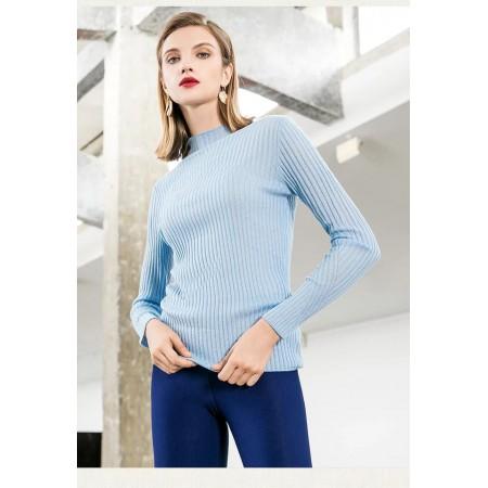 帛薇儿  2018秋冬新款圆领宽松长袖针织衫·蓝色
