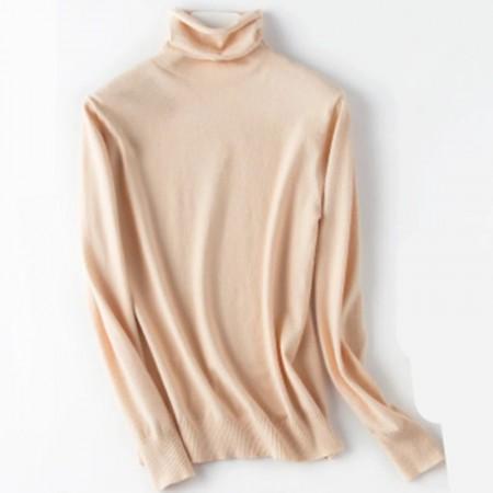 秋冬时尚镂空超柔打底衫·米白简约