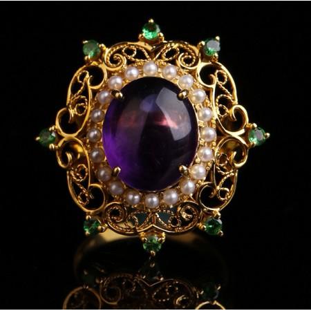 绣花张18k金创汇时期老紫水晶花丝戒指(孤品)