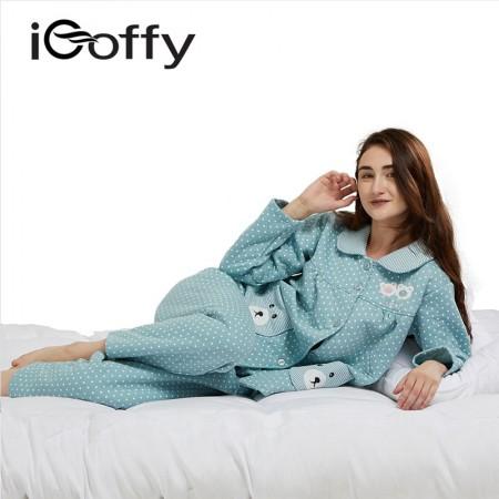 欧菲(icoffy) 女士加厚夹棉家居服套装(OF6364)·绿色