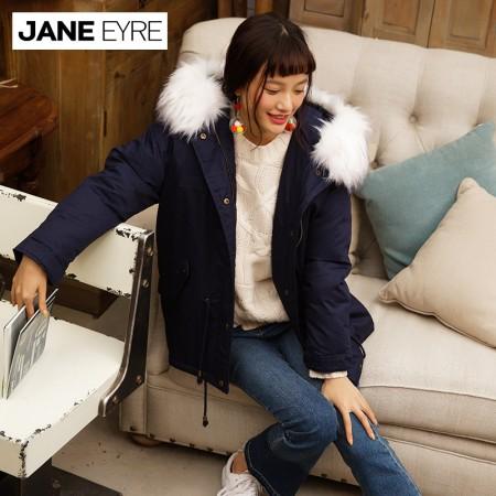 Jane Eyre 仿毛领装饰羽绒服短款(JE5025)·藏青