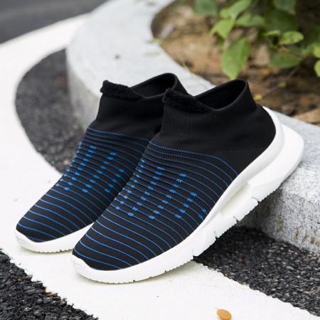 超轻软底袜子鞋一脚蹬健步鞋18021·男黑蓝  男黑蓝