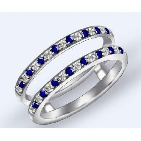 梦思芭克18K金双排蓝宝石钻石戒指