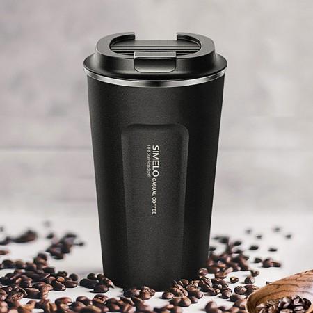 SIMELO施美乐 随行咖啡杯马克杯保温杯510ML·黑色