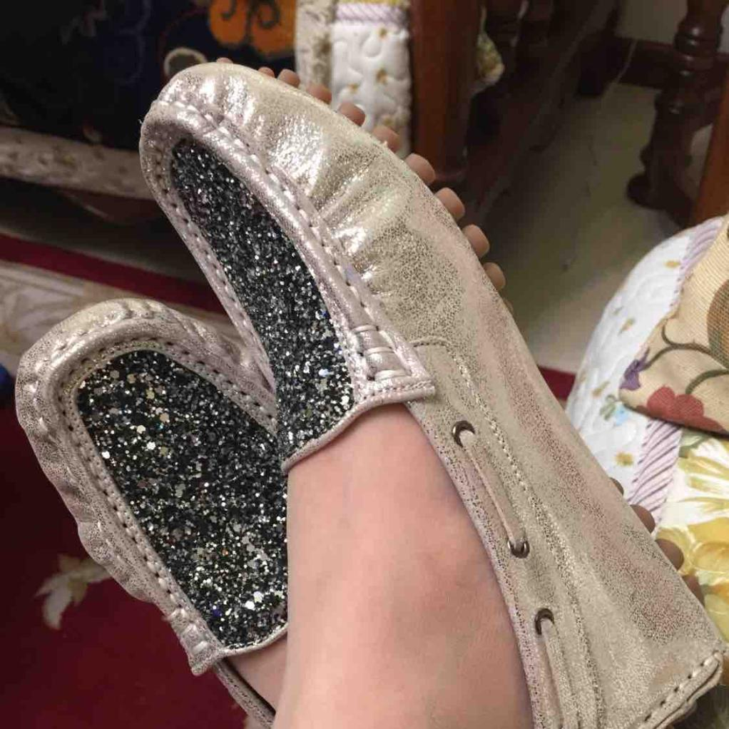 [诺曼地]璀璨星空豆豆手工鞋(台湾手工制造)浅金色