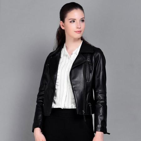 今升 西装领修身短款绵羊皮真皮机车皮夹克·黑色