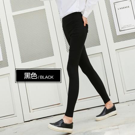 俞兆林女士外穿纯色打底裤超弹中高腰小脚裤 简约百搭必备款(90-150斤可穿)·黑色  黑色