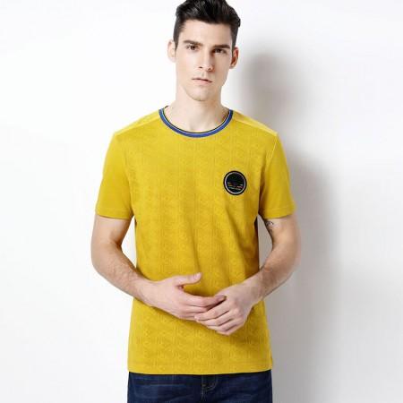 莱恩雷迪新款圆领舒适提花透气丝光棉拼接男士短袖T恤102522810·黄色