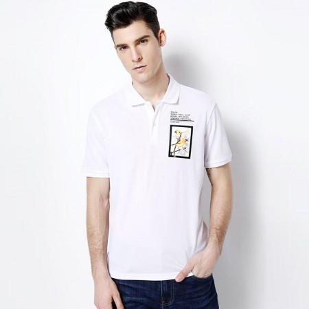 莱恩雷迪新款翻领净色时尚印花清爽透气棉休闲男士短袖T恤102283900·白色